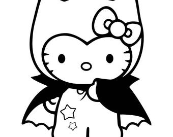 Dracula Hello Kitty Vinyl Decal ~ Choose your color~