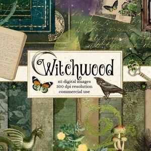Witchwood Digital Scrapbooking Kit, clipart, digital paper ephemera, frames, florals, magic witch, dragon, fantasy digital overlays