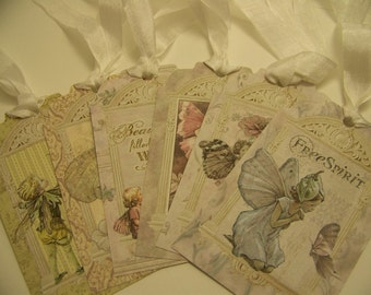 Fairy Tags All Occasion Tags Fairy Party Favors Vintage Style Gift Tags Set of 6