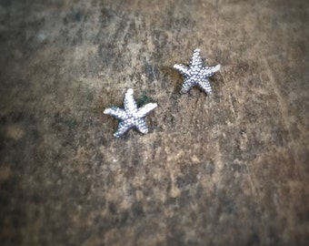 Tiny Starfish Silver Stud Earrings, Beach Jewelry Post Earrings, Starfish Studs Boho Jewelry, Gift for Her Starfish Jewelry, Silver Earrings