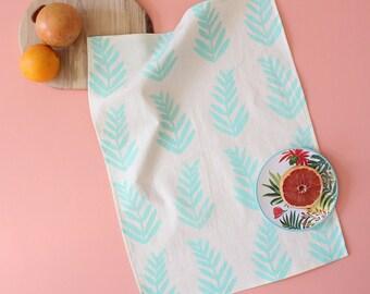 fern leaf hand printed tea towel cool mint tropical kitchen towel gift SALE