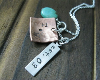 Personalized Hand Stamped Mixed Metal and Turquoise  Necklace Traditional Copper Anniversary