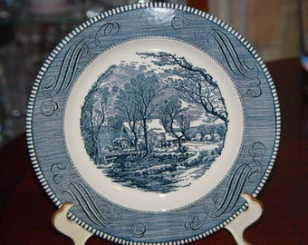 "Cavalier Ironstone 10"" Dinner Plate, Blue and White, Marked Royal China Made in USA, Underglaze, Country Scene 1960s"