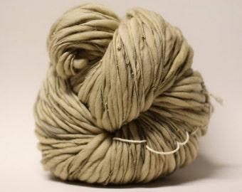 Thick and Thin Yarn Handspun Merino Wool Slub  tts(tm) Merino Hand dyed One-Pounder Dark Oyster Super Bulky