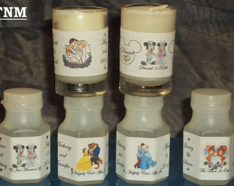 30 Custom Made Disney Wedding/ Anniversary/Engagement Bubbles Favors Moisture Resistant Labels@Just Peel & Stick