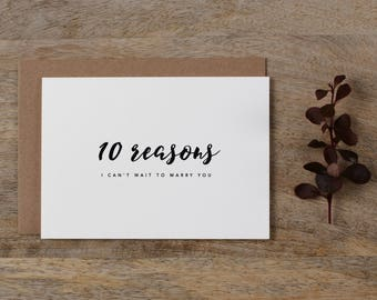 10 Reasons I Can't Wait To Marry You, Groom Card, Bride Card, Wedding Card to Bride or Groom, Card To My Groom, To My Bride, K8