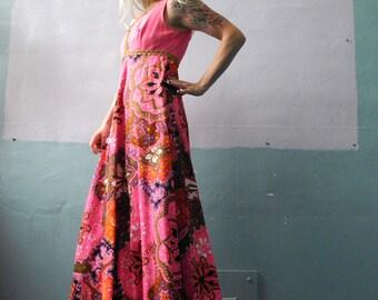 SALE Vtg 60s Neon Pink Maxi Dress / Sleeveless / Psychedelic Swirls