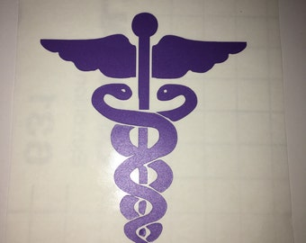 Caduceus medical symbol vinyl sticker