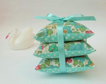 Liberty Print Light Turquoise Lavender Sachets, Pretty Lavender Pillow Trio, Ditsy Floral Fabric Lavender Drawer Sachets