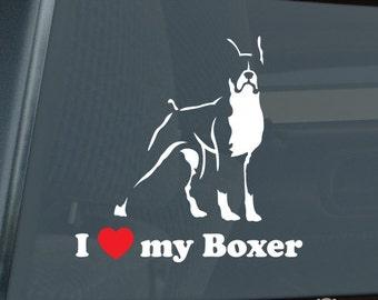 I Love My Boxer Profile Die Cut Vinyl Sticker - 585