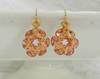 CLEARANCE - Swarovski Beaded earrings,Beaded Swarovski earrings,Beaded jewelry,Clip earrings,Flower  earrings - Rose Petal Earrings