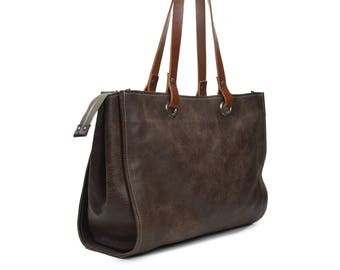 Handmade leather shopper