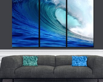 Huge Ocean Wave on Canvas,  Large Wall art, Ocean Canvas, Blue Wave, Ocean Beach, Canvas print, Multi Panel Canvas, Surfer art,