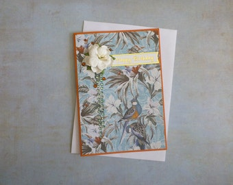 Tropical Floral Birthday Card FREE SHIPPING