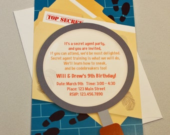 Custom Secret Agent, Spy, or Detective Birthday Party Invitations and Thank You Notes