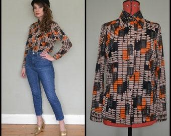 Vintage 1970's Geometric Daggar Collar Polyester Shirt Blouse Size Medium/Large