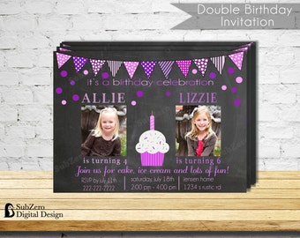 Double Birthday Party Invitation - Pink and Purple Party Invitation - Printable 5x7 with Photo
