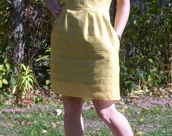 Yellow and Sheer Plaid Dress