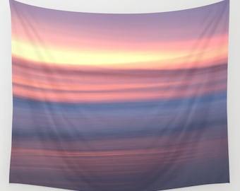 Pastel sunrise tapestry, beach wall hanging, peaceful scene tapestry, mauve fabric decor, sunset tapestry, peaceful wall art, beach scene