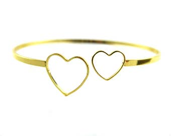 Gold Plated Double Heart Wire Cuff  (1x) (K412-C)