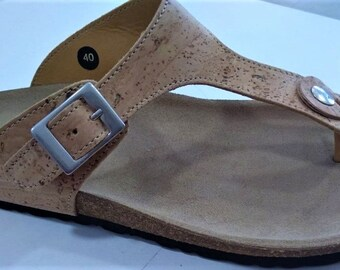 Cork Sandals - Natural Cork Shoes - 100% Cork and Leather Sandals - Unisex Shoes