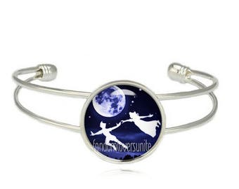 Peter Pan Cuff Bangle Flying over Moon with Wendy Darling Bracelet Peter Pan Jewelry Fangirl Fanboy