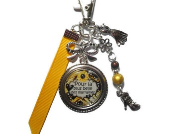 """Bag charm, door keys/godmother / """"for the most beautiful godmothers"""" / year end gift/birthday/party/thanks/holiday / Christmas"""