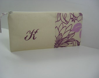 Personalized Clutch, Personalized Pouch, Bridesmaid Gift, Makeup Bag,  Made To Order - Plum
