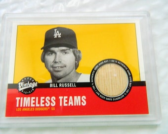 Bill Russell Upper Deck # LA-BR Baseball Card Authentic Piece of Game Used BAT High Grade  Condition
