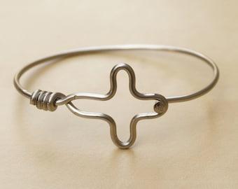 Silver Cross Bicycle Spoke Bracelet