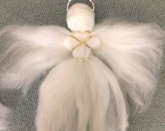 Angel ornaments,wool felted angel, gold and silver angel ornaments, Needle felted angel.