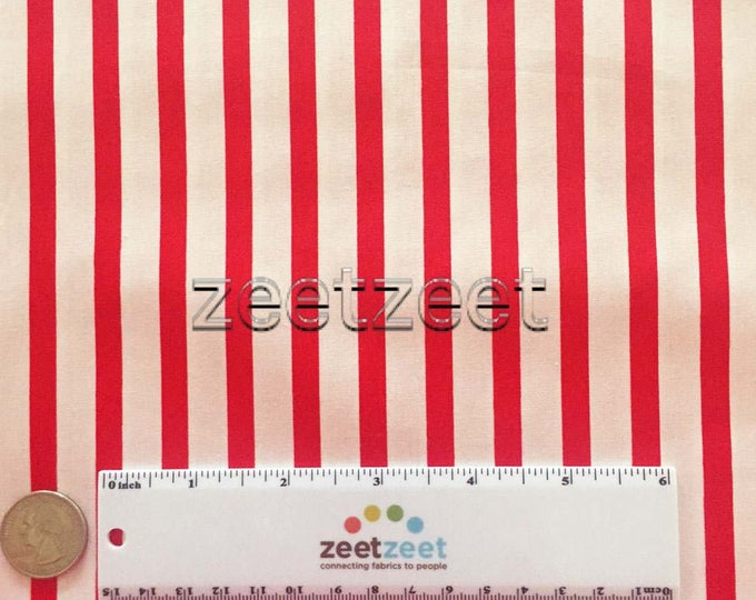 "RED & WHITE 1/4"" STRIPE Robert Kaufman Pimatex Basics Cotton Quilt Dress Fabric by the Yard Christmas Holiday"