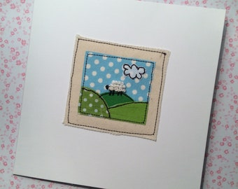 Llittle sheep, free motion machine embroidery Greeting Card