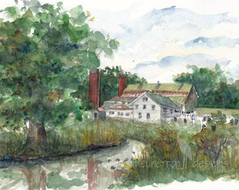 Architecture Watercolor Fallingwater Frank Lloyd Wright Art