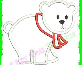 Polar Bear with Scarf, Christmas bear , Machine Embroidery design