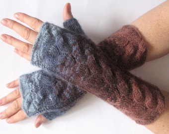 Brown Christmas Fingerless Gloves Blue Christmas Gift Long Mittens Arm Warmers Acrylic Wool Mohair