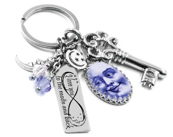 Moon Key Chain, Luna Keychain, Man in the Moon Key Chain Jewelry, I Love you to the Moon and Back