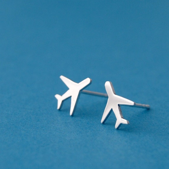 Sterling Silver Airplane Earrings fUz6pgf