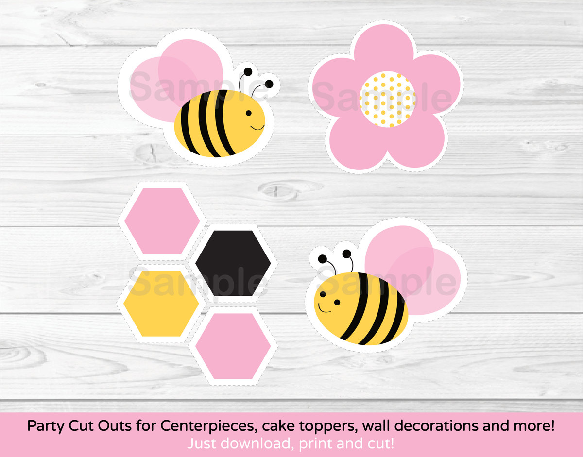 Pink Bumble Bee Cut Outs Baby Shower