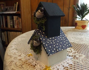 Decorative Bird House / White Paint - Navy and White Star Print Roof / Bird & Nesting Material