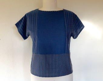Susie color blocked cotton top- blue- Medium