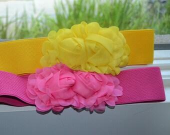 Chiffon Flower cinch belt, Wide elastic stretch corset belt, Hot Pink stretch belt, Wide belt, Pink Belt, Yellow belt, yellow stretch belt