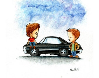 Sam and Dean and Baby. The Supernatural Boys Watercolor Print
