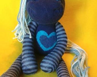 "Cleon - 11"" Sock Unicorn Plush - Handmade Plush Doll"