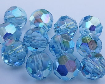 Close Out! Aquamarine Blue Swarvoski Crystal, 6 mm, AB,  Round, Pkg of 24