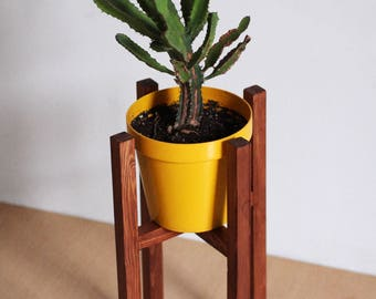 Wood Pot Holder/Mid Century Modern Wood Plant stand/Nordic Pine wood Plant support