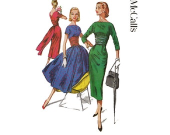 Bouffant or Wiggle Dress Pattern with Back Panel Train Bust 34 McCalls 3781 Cocktail Dress/Open Back Bateau Neckline Vintage 1950s