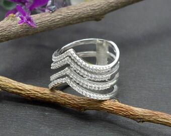 Natural Zircon Round Gemstone Ring 925 Sterling Silver R918
