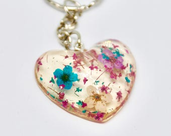 Heart Shaped Keyring Keychain with miniature dried flowers