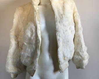 Rabbit fur bomber coat